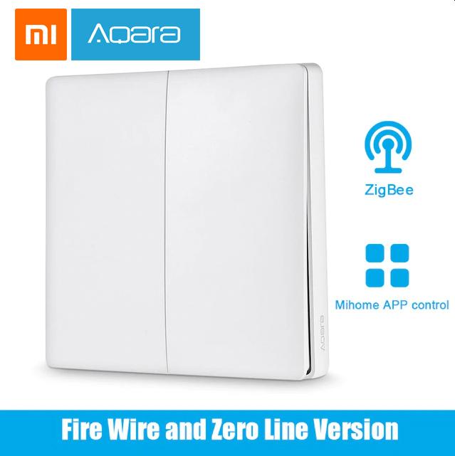 کلید سنسور هوشمند دو پل بی سیم شیائومی آکارا Xiaomi Aqara wireless switch Wall double button